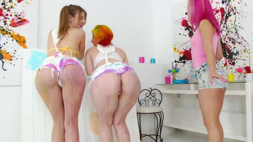 Three sloppy lezzies playing with anal holes filled with colors