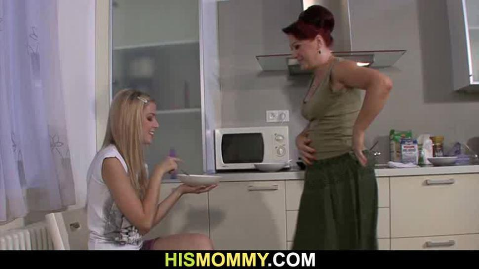 HIS MOMMY - Blonde teen and mom go lesbian on kitchen