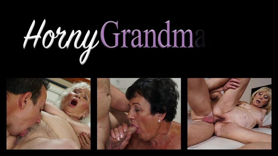 Redheaded granny blows huge cock