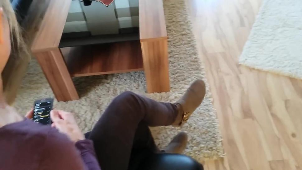 Blond Girl in Boots and Nylons