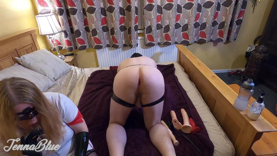 Anal Therapy with Nurse Jenna. Slave Gets Ass Opened, Filled With Toys and Gaped - Makes Him Cum
