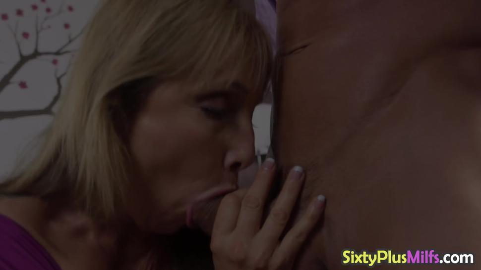 Horny stud destroys lusty blonde milf