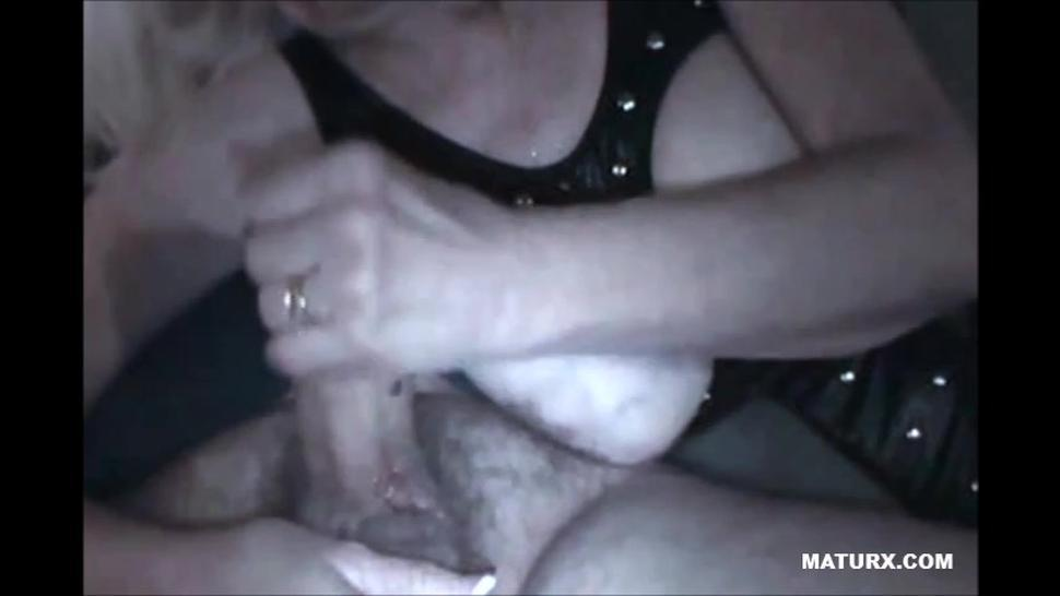 Big tits grandma giving a nice handjob till cum