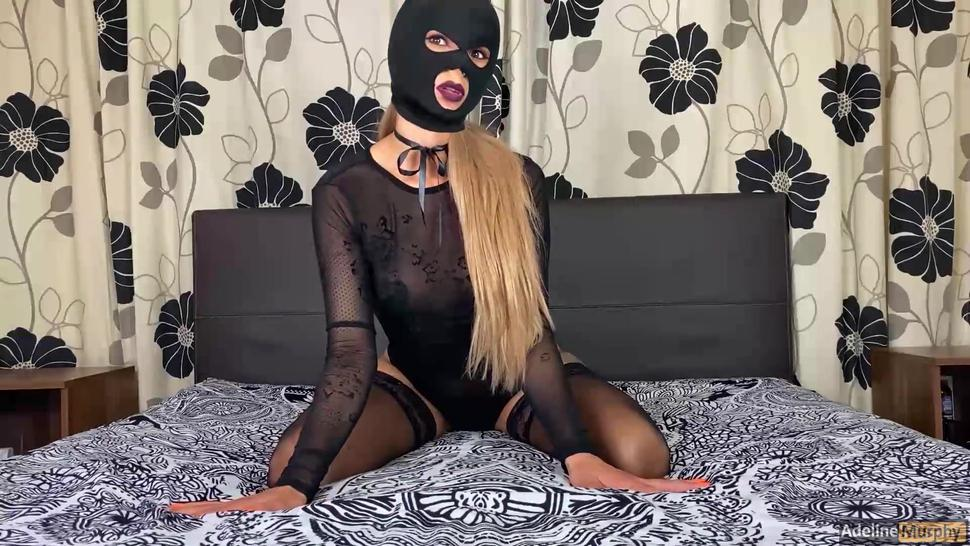 Slut With Mask And Stockings Gets Face Fucked. Deep Throat Throat Screw Cum In Mouth Blowjob Handjob