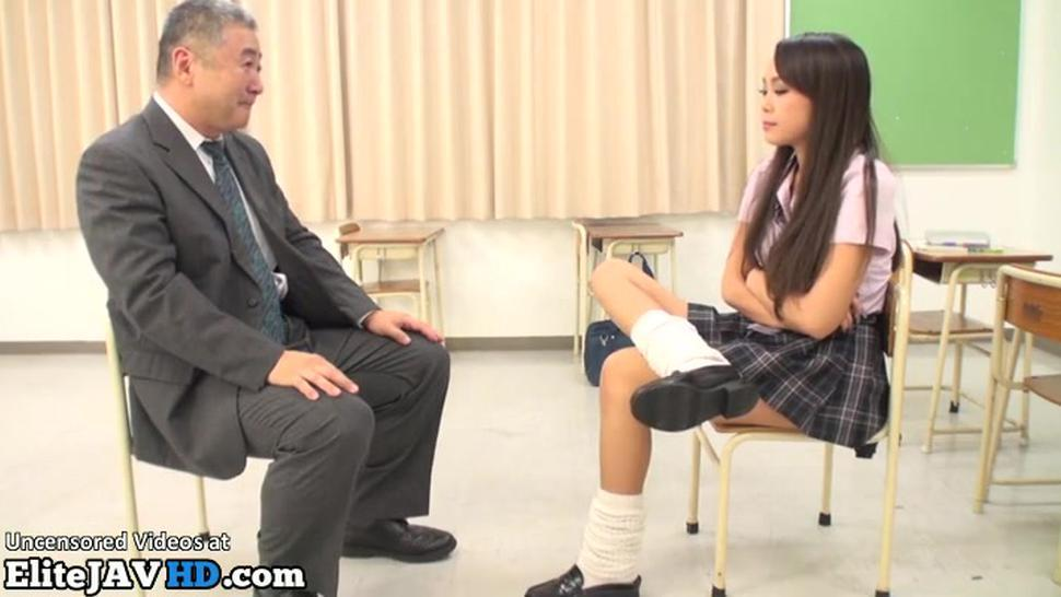 Jav hot teen in uniform plays with small dick man
