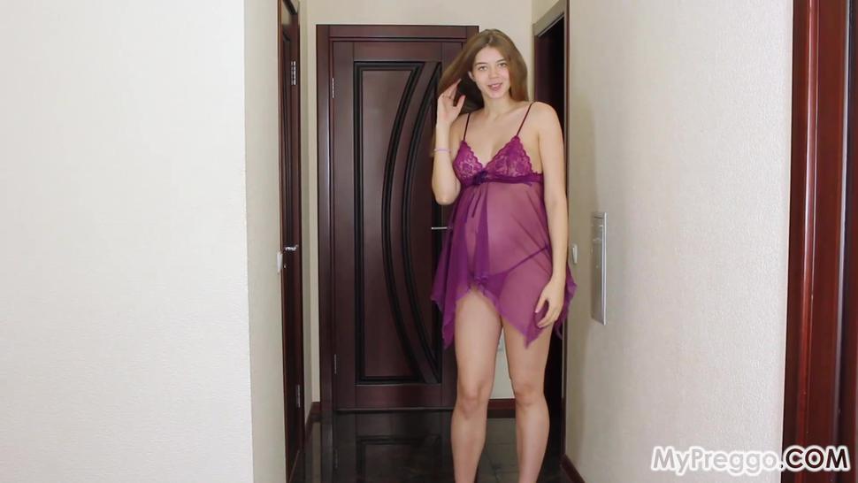 Pregnant/fetish/canella energists pregnant lingerie purple