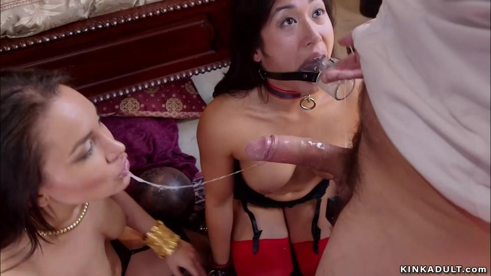 Master fucks new slut in threesome