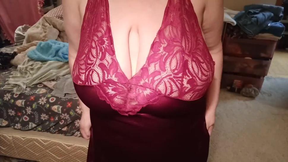 BBW in burgandy lingerie squeezing huge natural 38 jj boobs