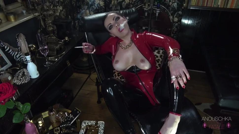 Femme Fatale in Red and Black