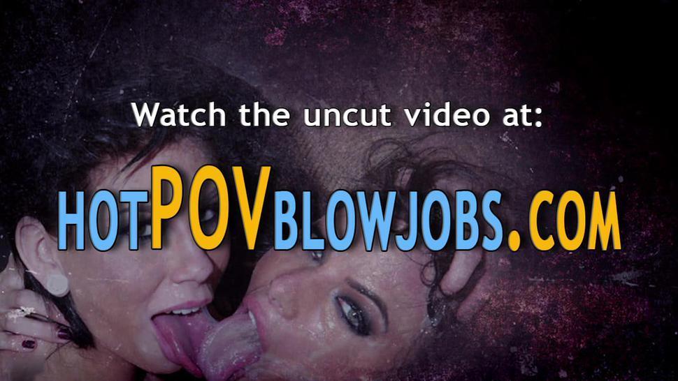 POV BLOWJOBS - Hottie pov gobbles and throats dick