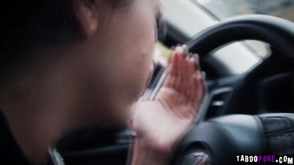 Stirling hits Adiras teen pussy as Adira hits his car
