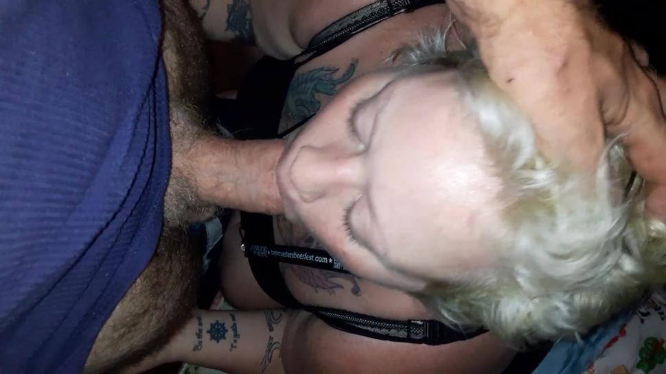 Hot blonde BBW sucks and SWALLOWS hot dick load, sticky, everywhere