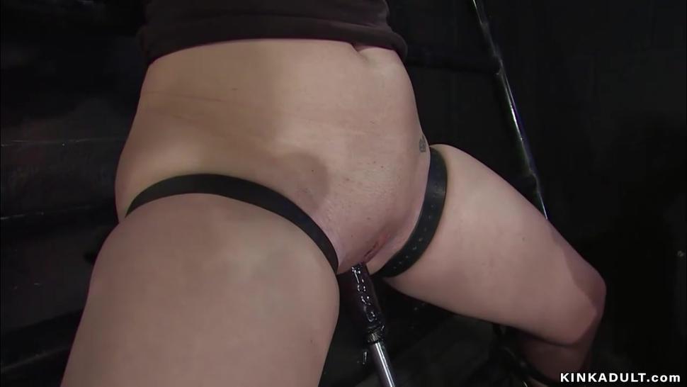 Bound lesbian slaves sticked on dildos