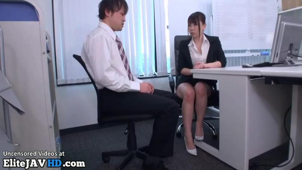 Japanese shy man has to please horny office lady