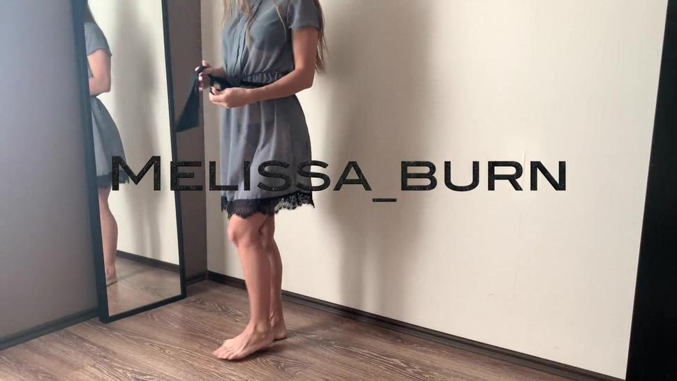 I was just trying on a dress but he decided to fuck me with his cock and cum on my ass- Melissa_burn