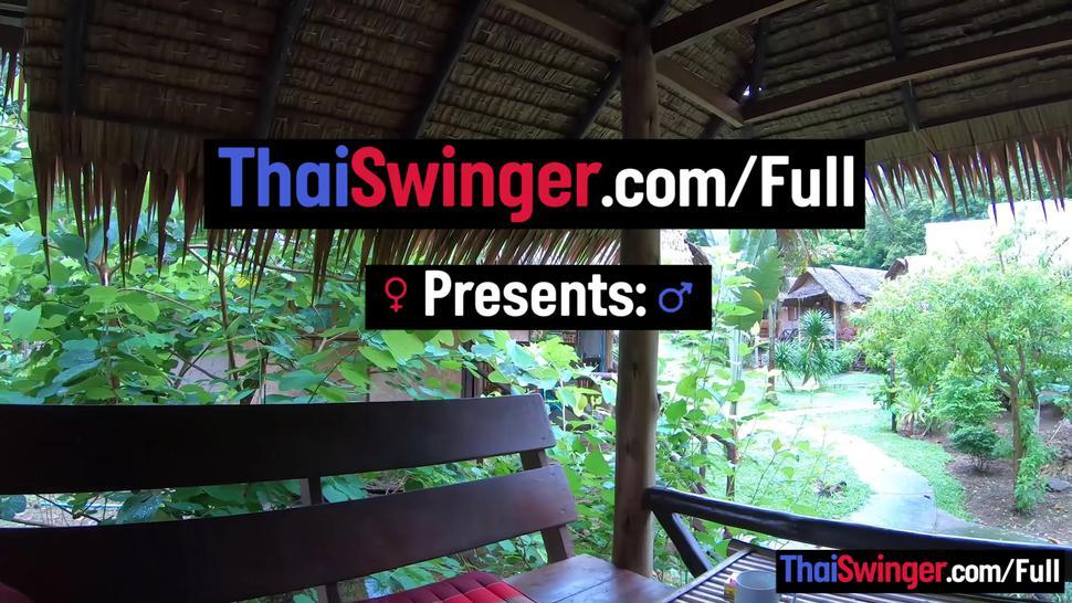 THAI SWINGER - Amateur Asian girlfriend hardcore blowjob and sex in a beach cabana
