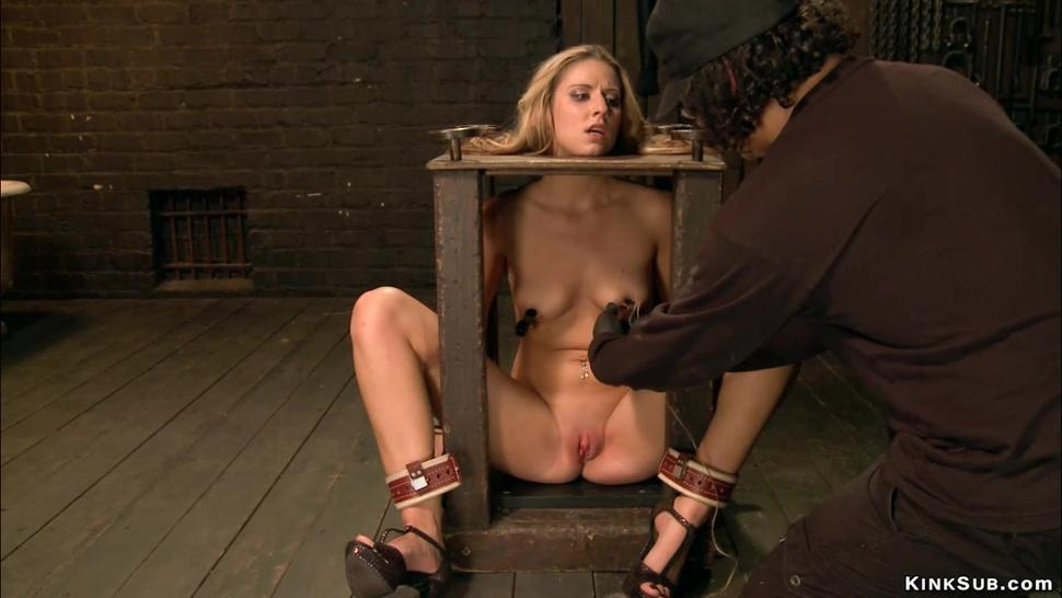 Bdsm/and blonde vibed bound clamped