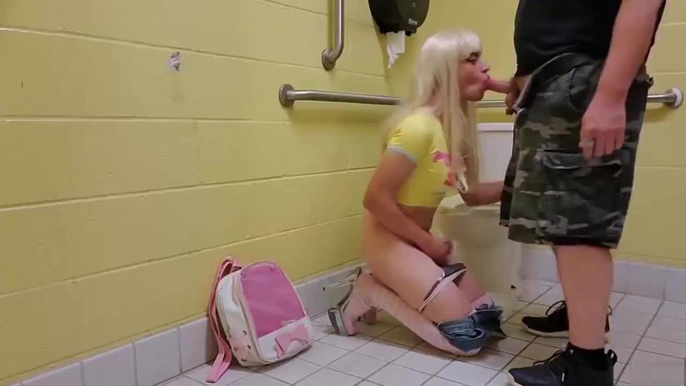 Sissy used in public toilet