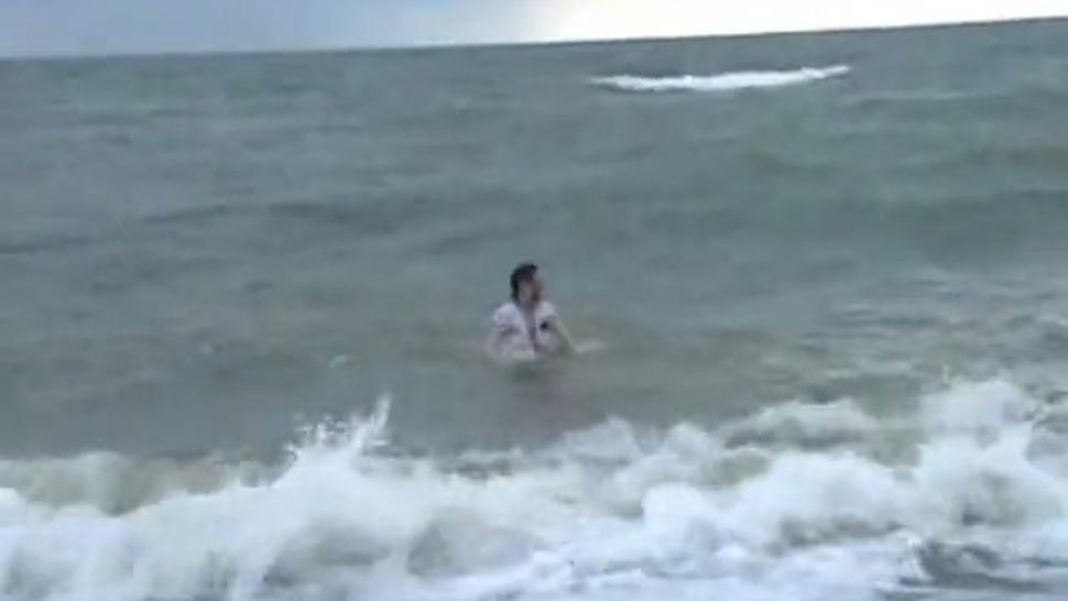 Winter bathing girl Crystel Leis beach masturbation and public toying