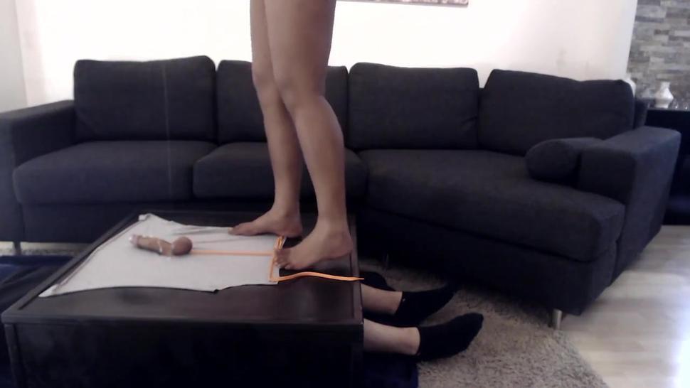 Indian girl using Cockbox foot fetish tampeling a cock of Sub man giving footjob