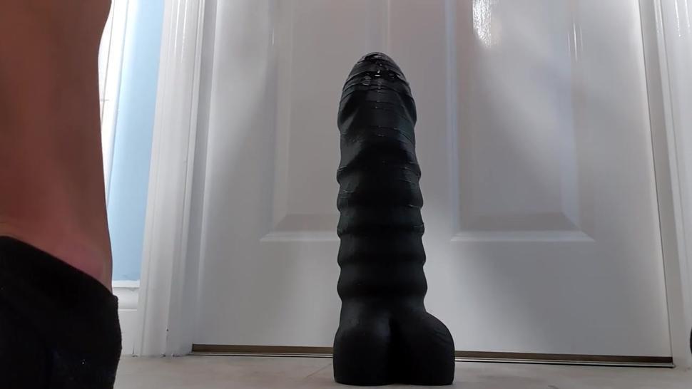 Gay twink taking monster dildo, anal gaping, anal stretching