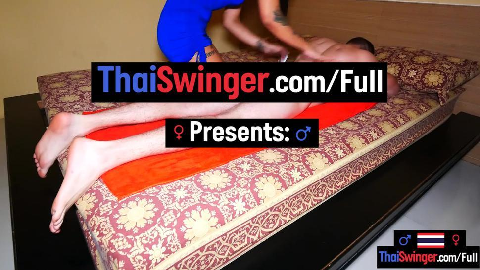 THAI SWINGER - Blowjob video with Asian amateur hottie who also gave him a massage