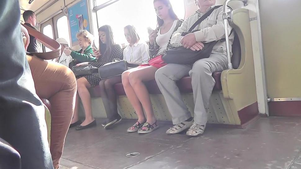 Petite Gal With Brunette Hair Caught In Public Upskirt