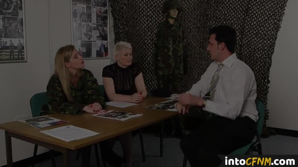PURE CFNM - British army femdoms commanding sub to jerk