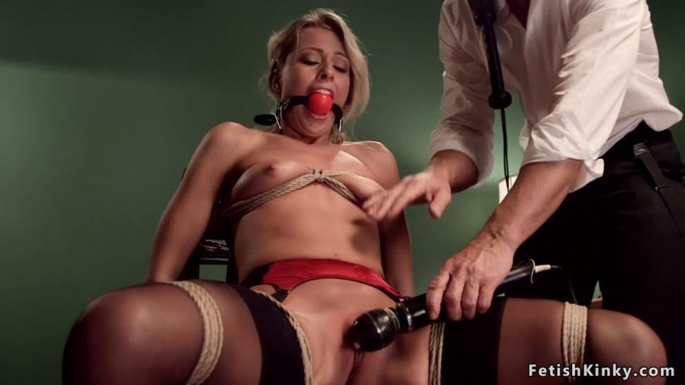 Blonde slave gets dildo on pool table