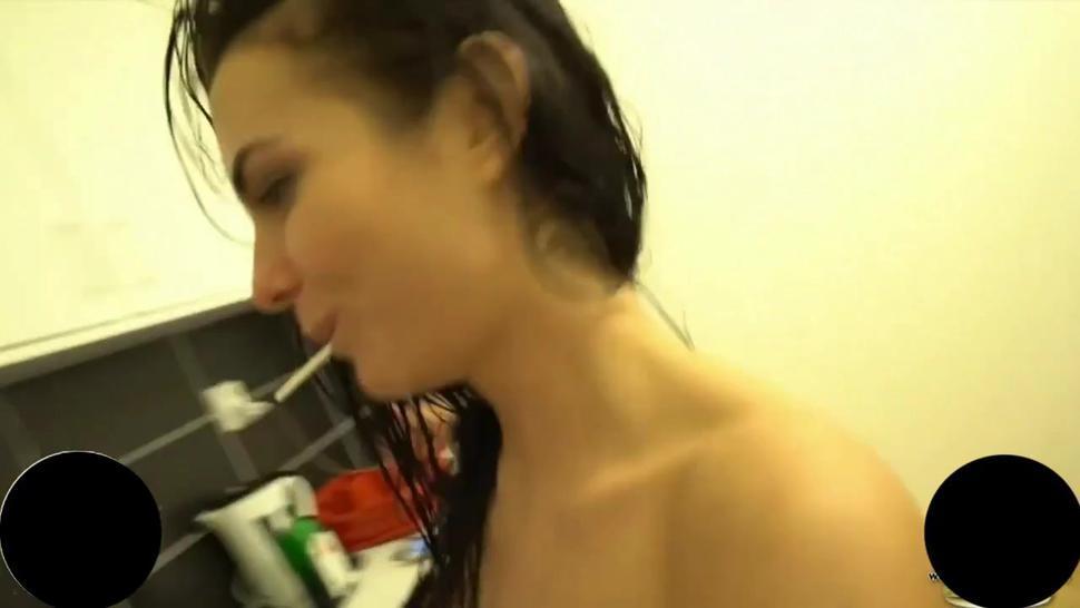 Funny Drunken Hot German Girl in The Shower!