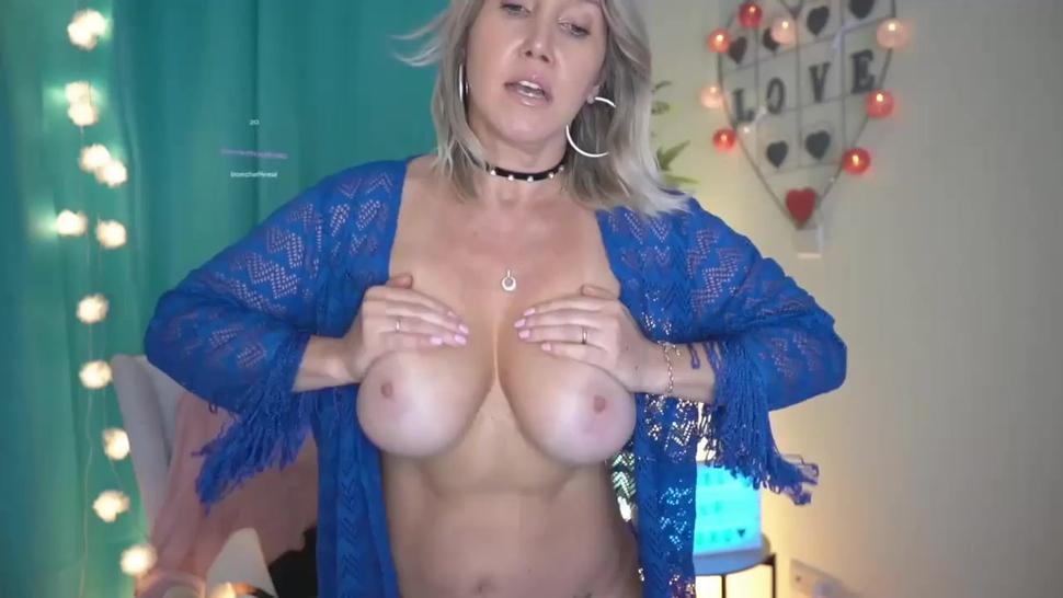 Horny busty MILF masturbating and squirting