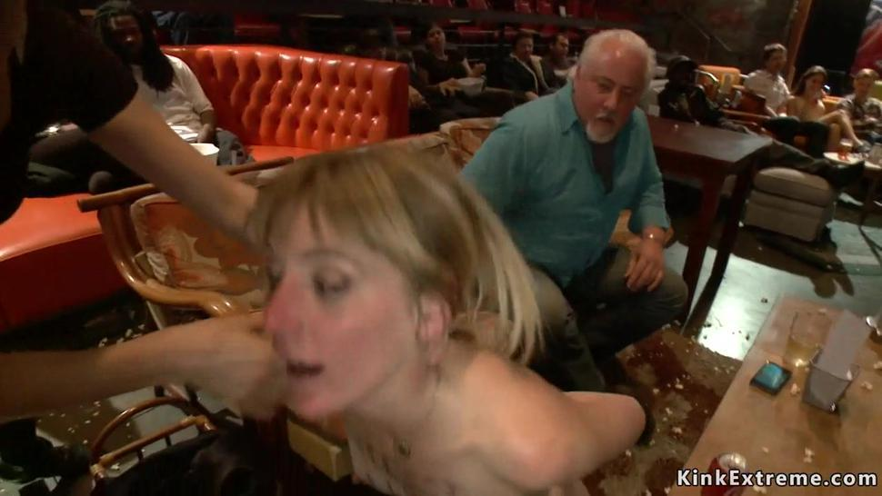 Slave anal fucked in public theater