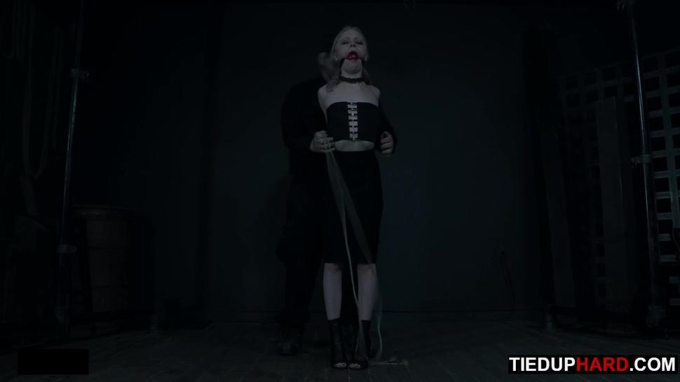 Petite BDSM slave gagged and caned by master