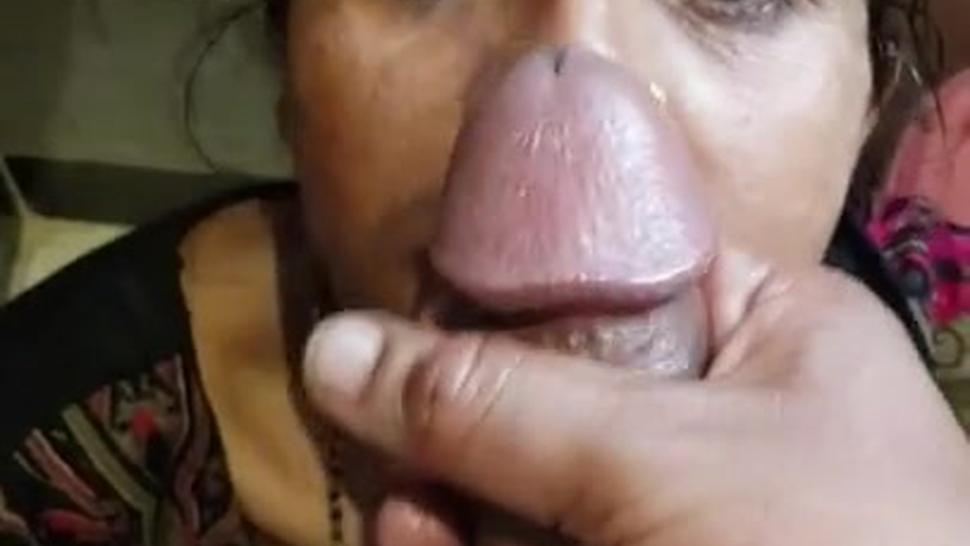 Amateur Indian granny licks cum after blowjob