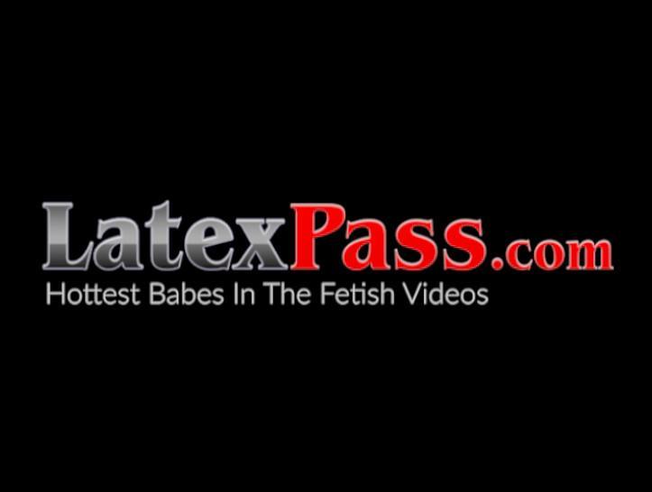 LATEX PUSSY CATS - Detention domina spanks and dildo fucks latex sub