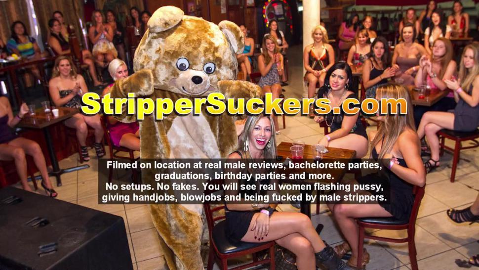 Cock-Starved Cheating Whore Wives Enjoy Blowjob Party With Male Strippers