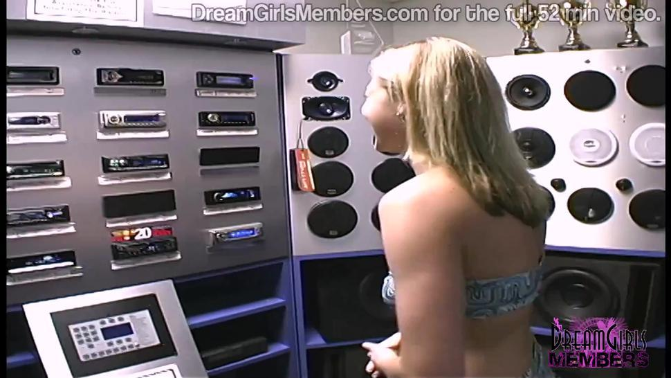 Wild Blonde Gets Naked & Masturbates in a Local Porn Store