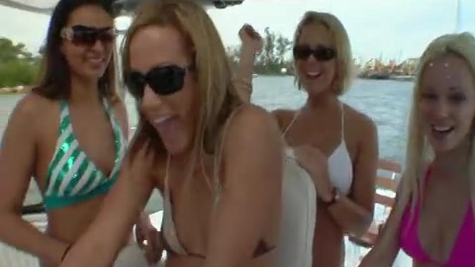 Hot lesbian girls partying on a boat