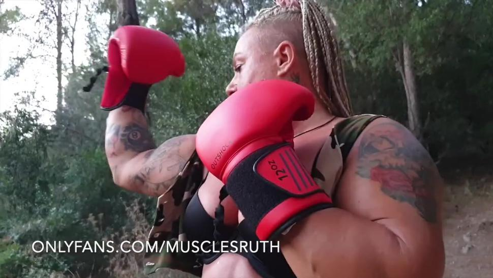 onlyfans/musclesruth - Milf thickness muscle body / hardcore dominatrix punches beatdown slave!
