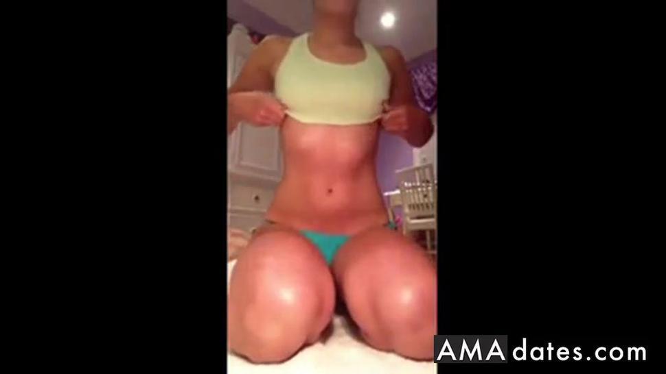 Selfshot - girl masturbating both holes with brushes
