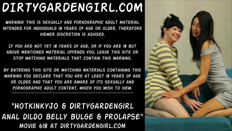 Hotkinkyjo & Dirtygardengirl anal dildo belly bulge & prolapse