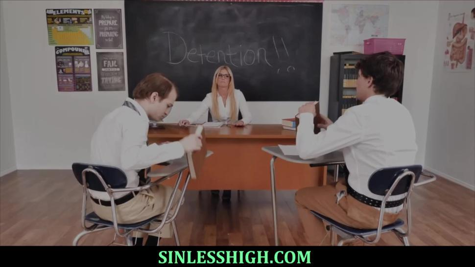 Hot Blonde Teacher Swallows Her Students Cum