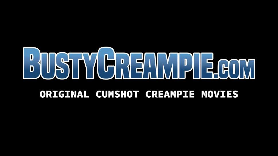 BUSTY CREAMPIE - Busty Karina White pussy drilled with dildo and hard pounded