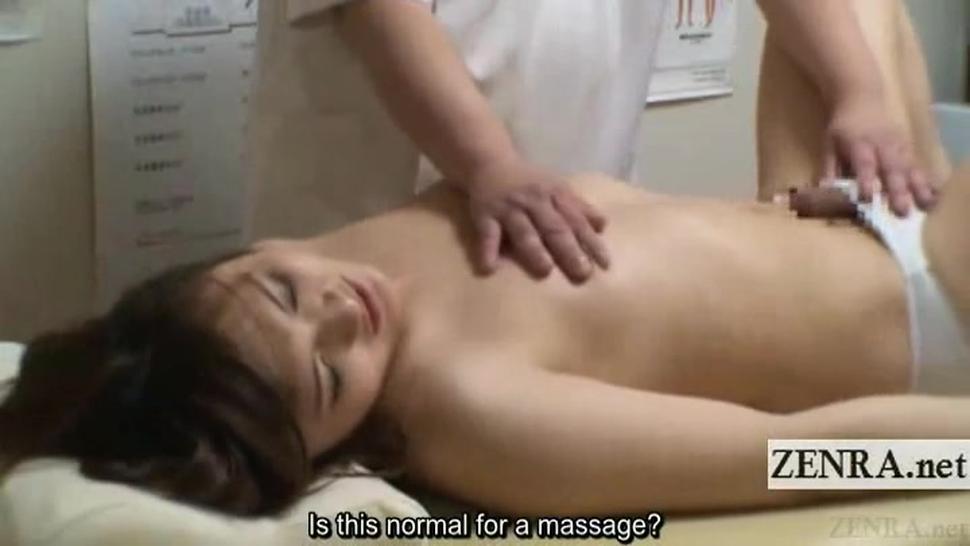 Subtitled shy Japanese newhalf massage clinic handjob