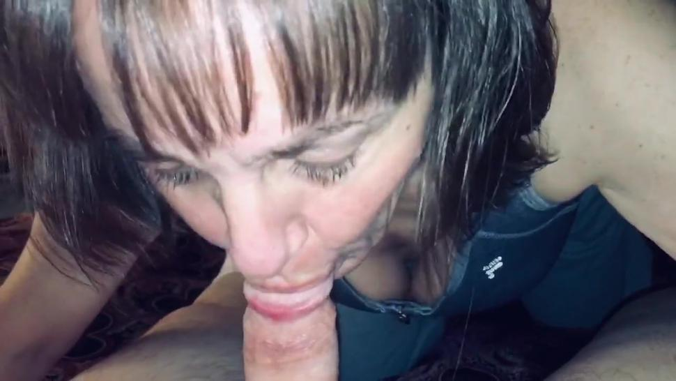 Mature Hotwife sucking and draining our friends dick while I record and ask dirty questions