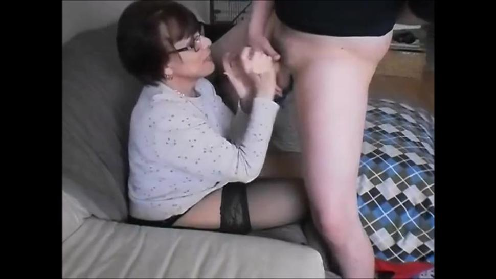 Hot older wife sucking young dick and get facial in front her cuck