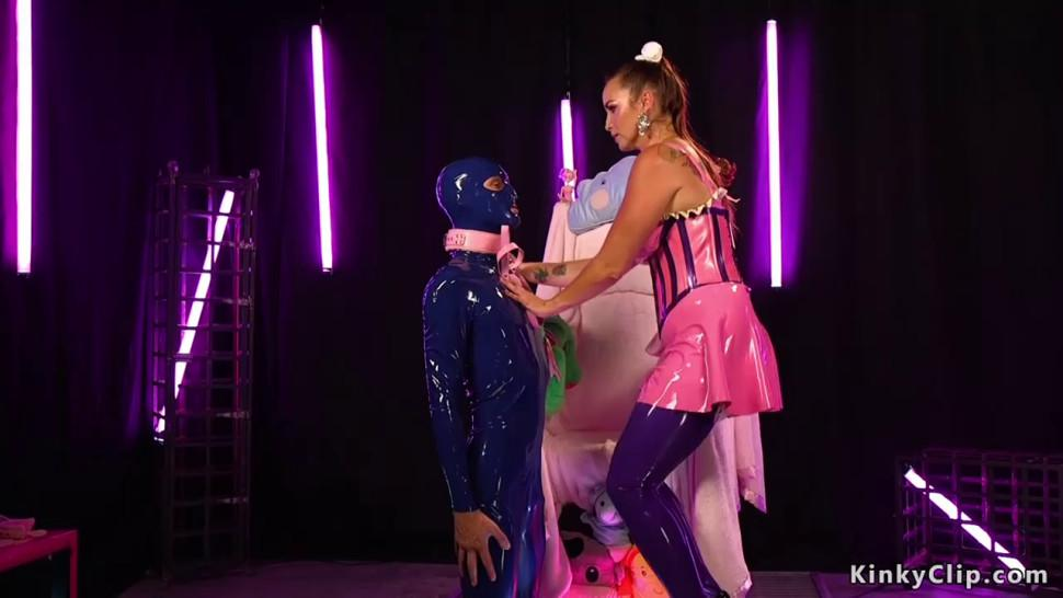 Masked man anal fucked by busty dominatrix