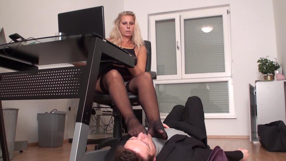 wild angel dominate bobby in office with her feet