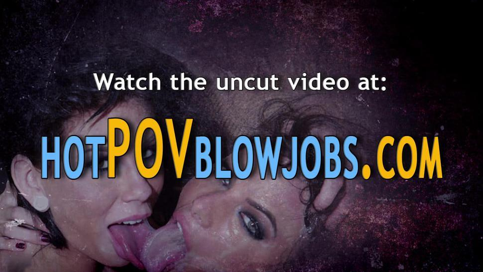 POV BLOWJOBS - Babe gives messy interracial blowbang