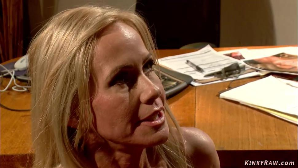Blonde MILF anal and throat fucked